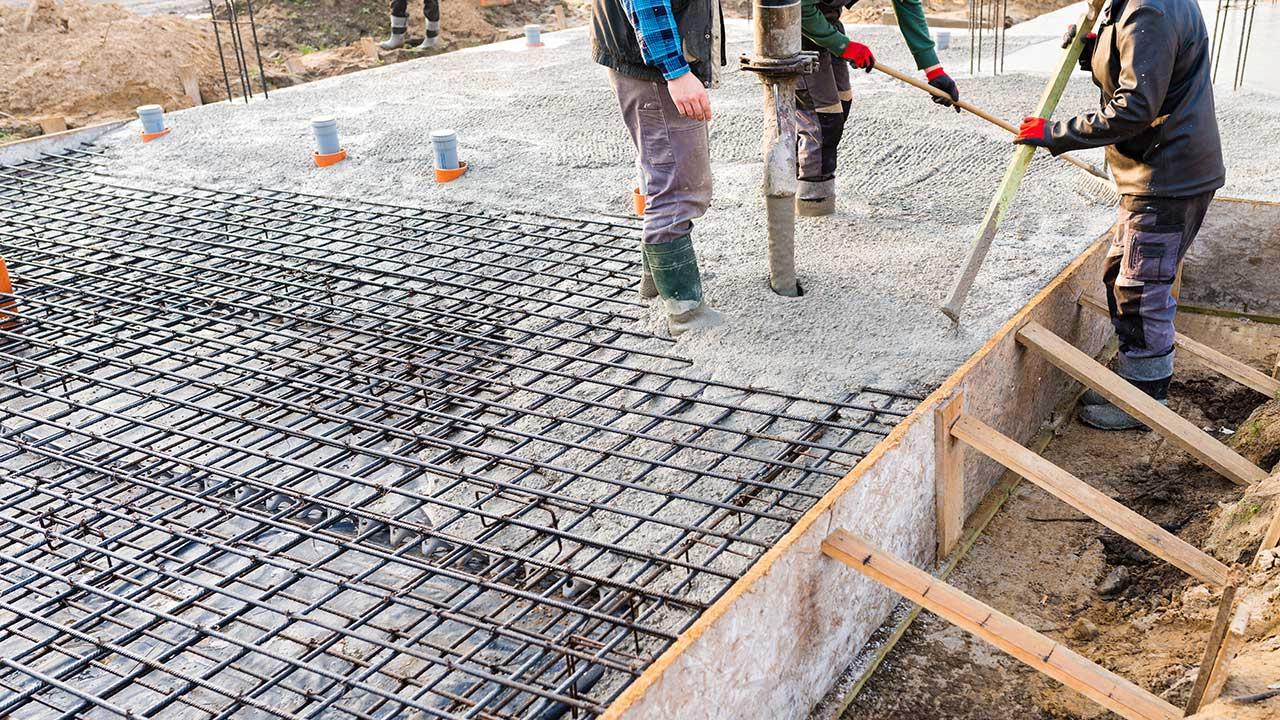 Concrete work site.