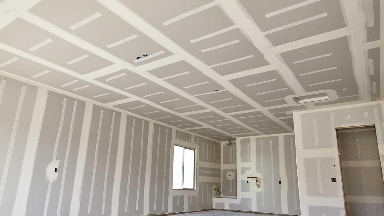 Drywall work site.