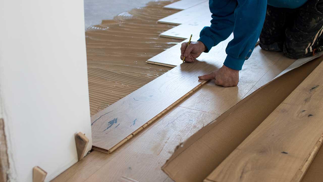 Flooring work site.