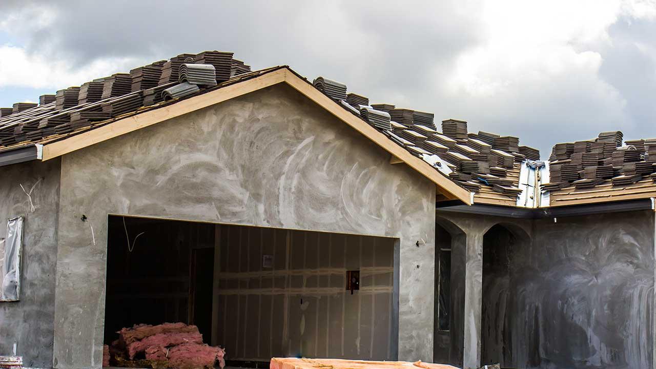 Stucco work site.