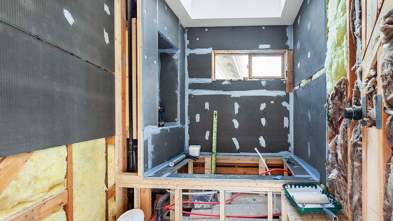 Waterproofing work site.